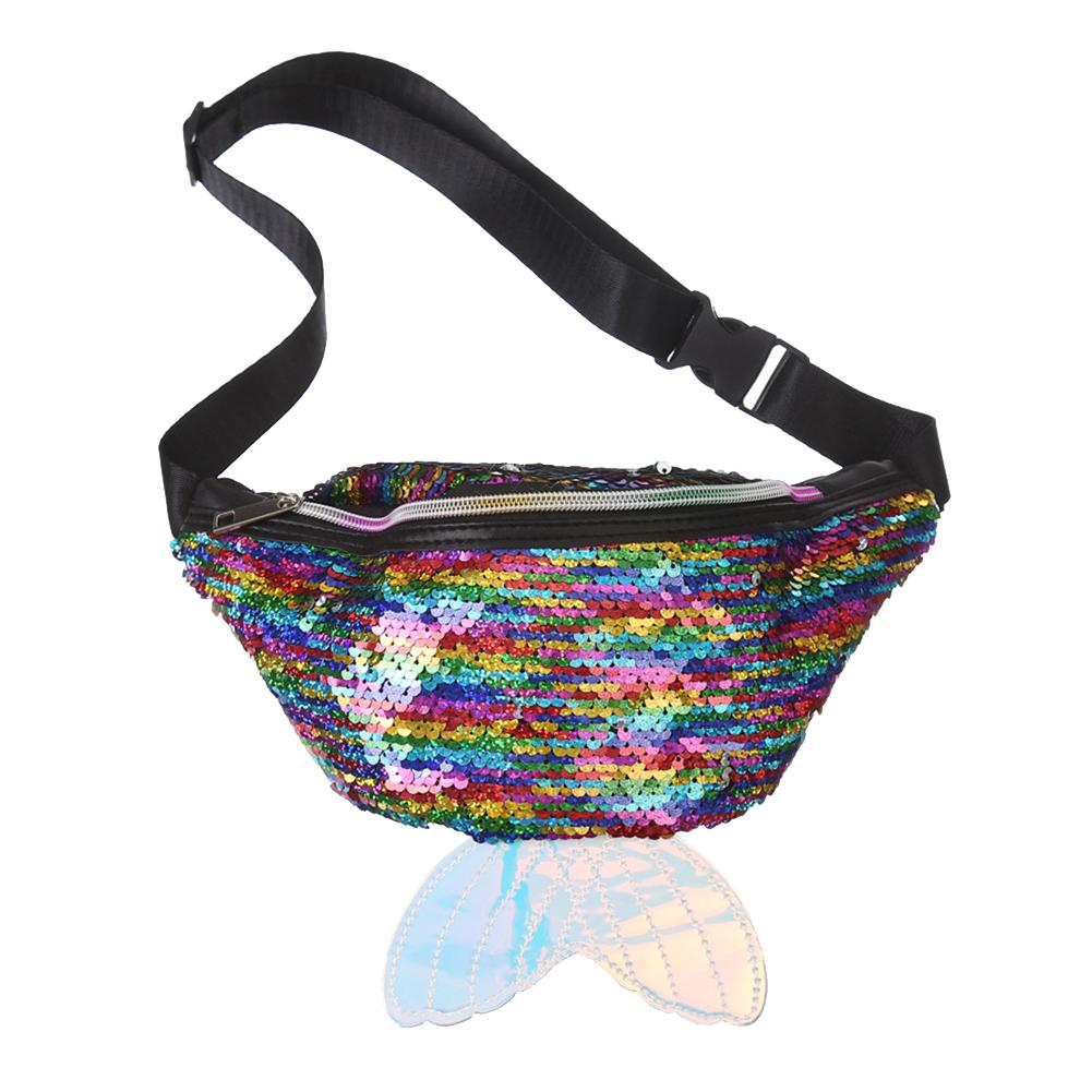 Women's Glitter Sequin Mermaid Tail Waist Bag Fanny Pack Fashion Zipper Bum Pouch