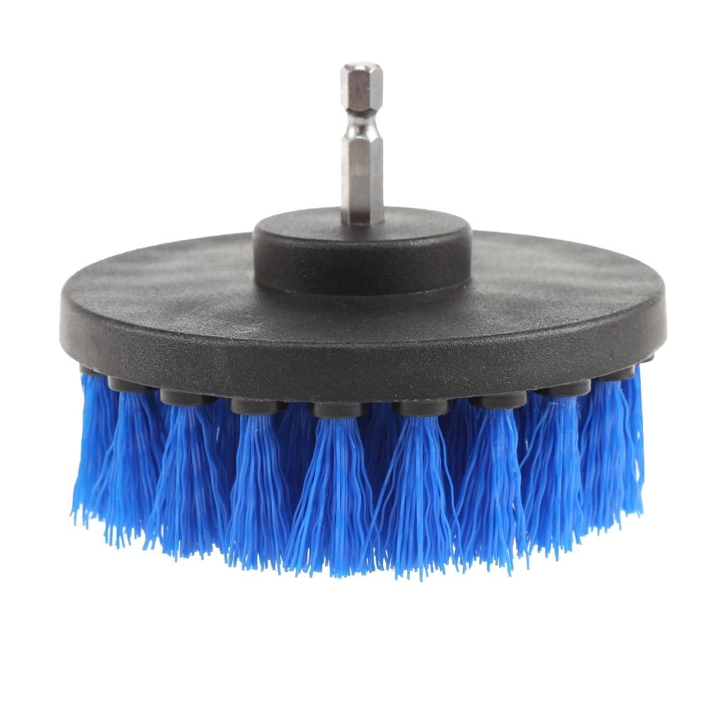 Blauwe Elektrische Boor Cleaning Nylon Borstel Ronde Borstel voor Tapijt Glas Autobanden Borstels Scrubber Boren 3 stks/set