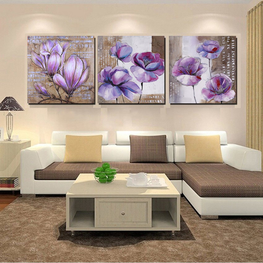 No frame 3 piece vintage home decor purple flower wall - Modern wall decor for living room ...