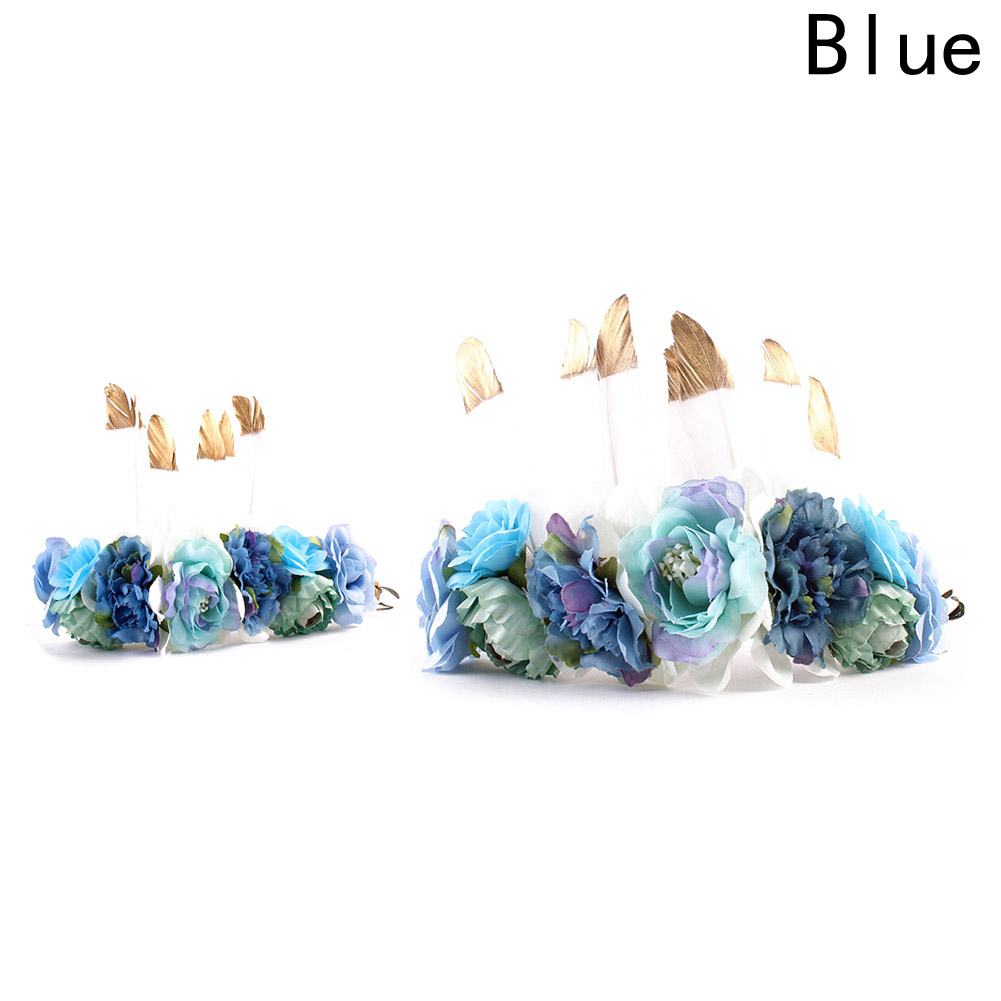 Hot 1 Set Feather Flower Crown For Mom And Daughter Hair Bands New Bebe Headbands Mother Kids Matching Headwear Hair Accessories ins hot selling mom and me feather wreath summer style girls headband flower mommy and child matching garland hair accessories