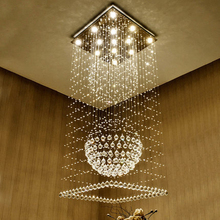K9 Crystal Chandeliers LED Modern Chandelier Lights Fixture Square Home Indoor Lighting Hotel Hall Lobby Parlor Hanging Lamps