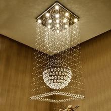 лучшая цена K9 Crystal Chandeliers LED Modern Chandelier Lights Fixture Square Home Indoor Lighting Hotel Hall Lobby Parlor Hanging Lamps