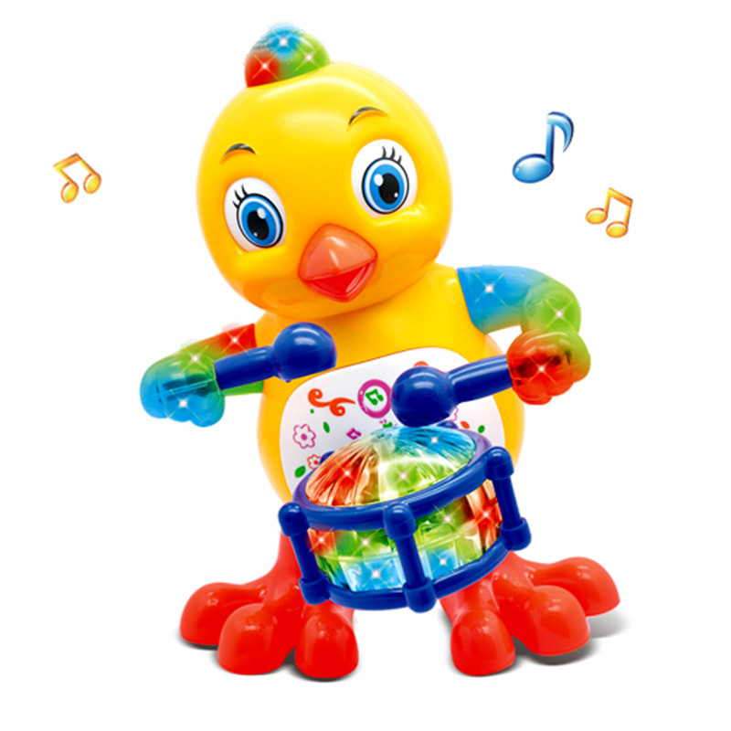 Happy Drummer Singing And Dancing Chicken Toys For Children Children's Phone Flashing Drum Singing Toys Musical Toys Baby Phone