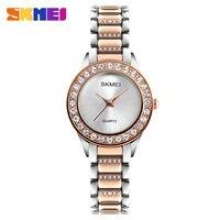 SKMEI Women Fashion Watches Luxury Stainless Steel Strap Quartz Watch Ladies Waterproof Casual Wristwatches Relogio Feminino