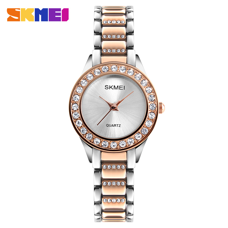 SKMEI Kvinnor Mode Klockor Lyx Stainless Steel Strap Quartz Watch Ladies Vattentät Casual Armbandsur Relogio Feminino