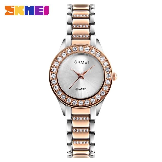 SKMEI модные женские часы класса люкс из нержавеющей стали ремешок кварцевые часы дамы Водонепроницаемый Повседневная Наручные часы Relogio feminino