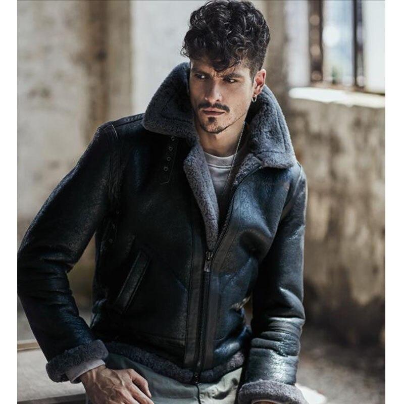 2018 nuevos hombres de la moda de piel de oveja chaqueta de cuero marrón oscuro B3 chaqueta Original chaqueta de vuelo camuflaje gris