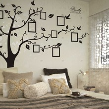 200 * 250CM Removable Tree Stencils For Walls Black Family Memory Photo Tree Wall Sticker Porta Retrato Arvore Sticker все цены