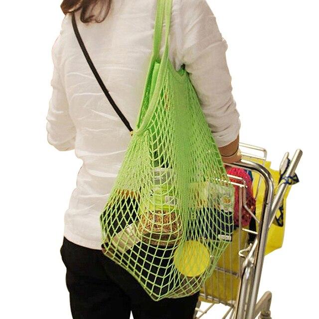 Модные эластичные Строка Чистая многоразовые сумки складной Бакалея сетка многофункциональный Сумочка Эко едут домашнего хранения организатор