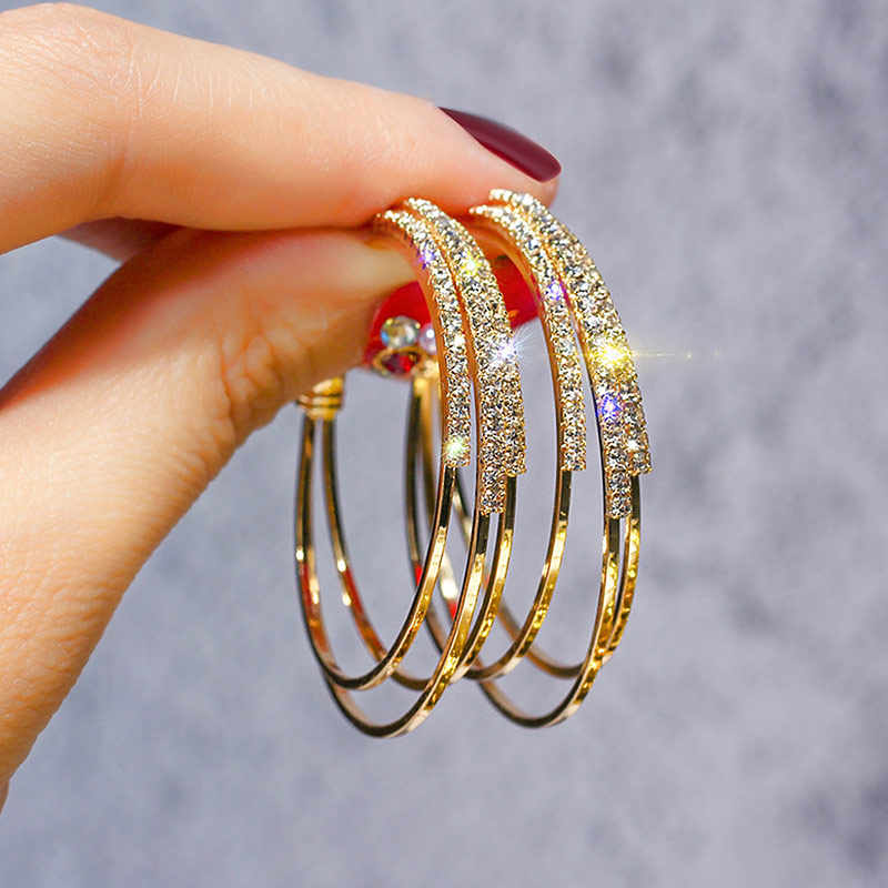 USTAR Crystals Round Hoop Earrings for Women Modern Fashion Jewelry Earrings female Gold color Geometric hanging oorbellen gift