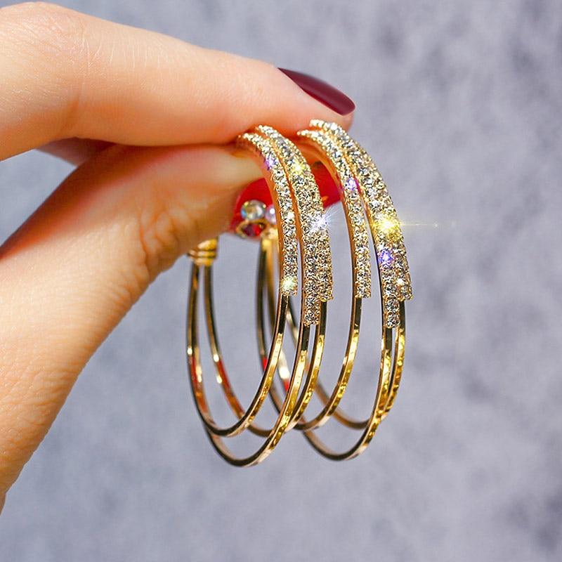 USTAR Crystals Round Hoop Earrings for Women Modern Fashion Jewelry  Earrings female Gold color Geometric hanging oorbellen gift|Hoop Earrings|  - AliExpress