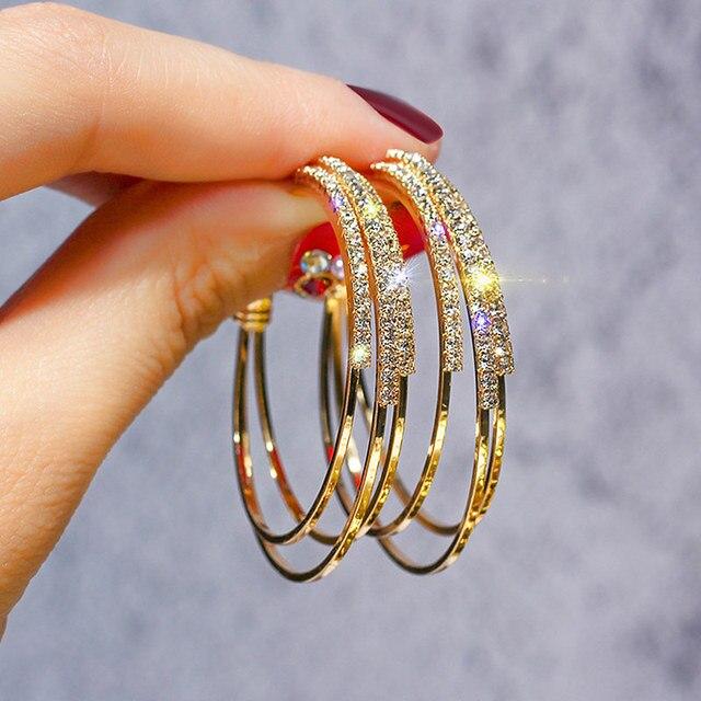 USTAR גבישי עגול עגילי חישוק לנשים מודרני תכשיטים נשי עגילי זהב צבע גיאומטרי תליית oorbellen מתנה