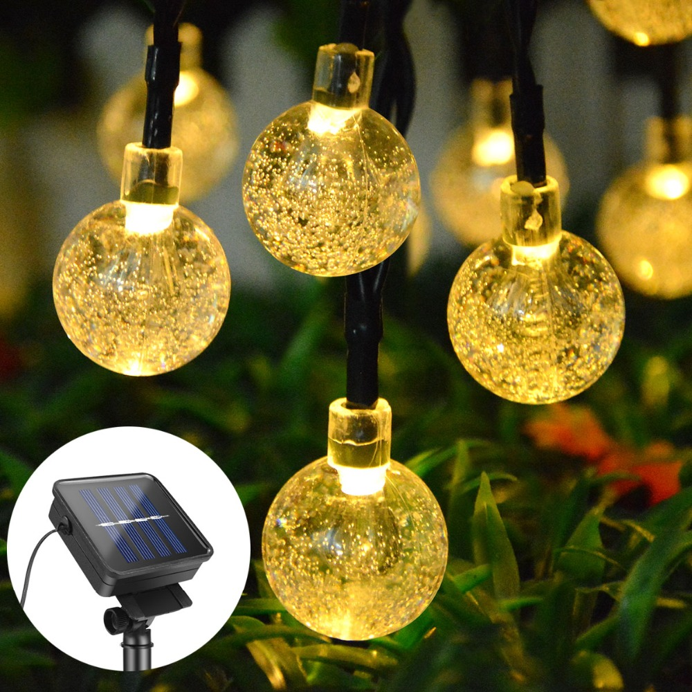 Decoration LED Solar Street Light Crystal Ball / Flower Blossom / Mini Fairy Star Strings Lamp Garden Fence Lighting Waterproof 1