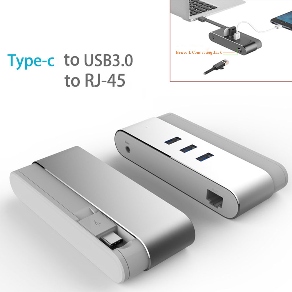 USB HUB Ethernet Aluminum 3-port USB 3.0 HUB with LAN Wired Network Adapter 3 USB Ports and RJ45 1000 Gigabit Ethernet Converter high quality usb 3 1 usb 3 0 3 port hub type c to 1000m rj45 lan card gigabit ethernet network adapter for macbook pc laptop