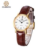 STARKING Women Swiss Quartz Movement 2016 New Geneva Gold Case Calfskin Leather Wrist Watch