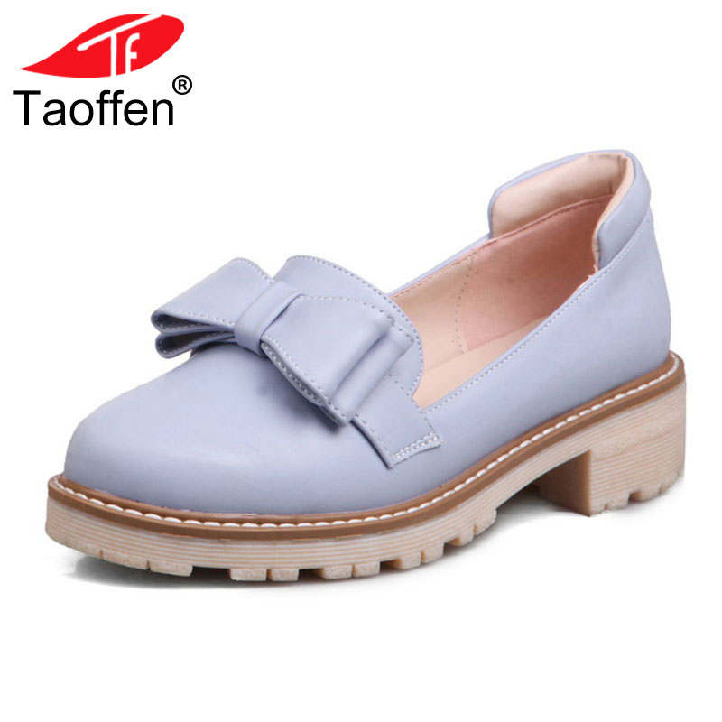 TAOFFEN Size 33-43 Ladies High Heel Shoes Women Bowtie Round Toe Solid Color Pumps Daily Work Students Dating Female Footwears цена