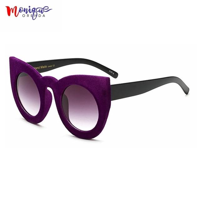 c5f8a4fe72c MONIQUE Fashion Sunglasses Women Luxury velvet Sunglasses Big Frame Sexy cat  eye Oversize sun glasses UV400