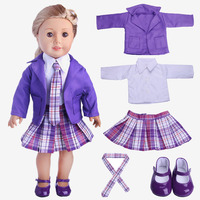 Doll Suit Shirt Tie Coat Skirt Shoes Five Sets For 18 Inch American Girl Doll Accessories