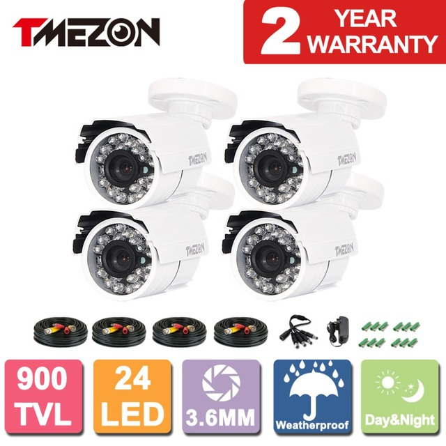 Tmezon 4pack HD 800TVL 900TVL 1200TVL CCTV Bullet Metal Home Security Surveillance Camera Outdoor Waterproof IR CUT Night Vision
