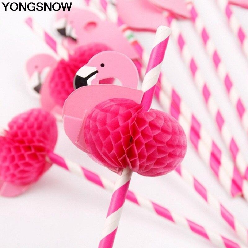 YONGSNOW 5/10Pcs 3D Cute Cartoon Animal Pink Flamingo Paper Strip Drinking Straw Summer Birthday Pary Wedding Baby Shower Decor