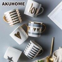 ゴールデンセラミックマグ磁器コーヒーマグ中国骨ミルクカップ愛のハートストライ