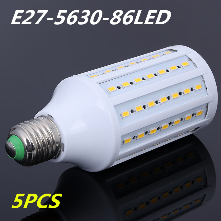 5pcs 25W E27 86LED 5630 SMD LED Lamp 220V Warm/Cool White Corn Bulb Ultra Bright Energy Saving Led Light Wholesale free shipping led smart emergency lamp led bulb led e27 bulb lights light bulb energy saving 5w 7w 9w after power failure automatic lighting