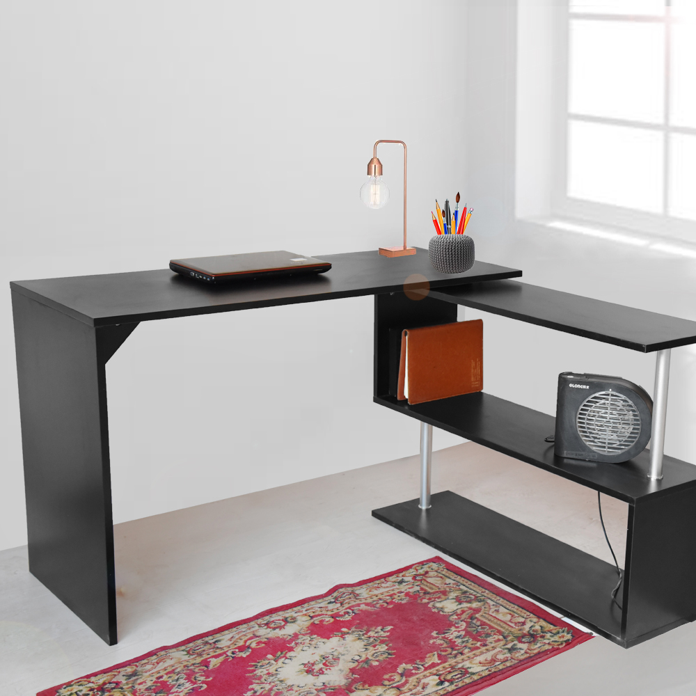 5acf96e22 Wooden Office Table Computer Desk Workstation DIY S shape Home PC Study  Table Office Furniture Dropshipping on Aliexpress.com