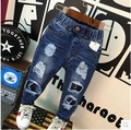 Children's wear children of new fund of 2016 autumn boy tide hole cowboy pants Super soft fabric jeans are free shipping