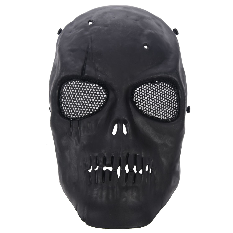 Airsoft Mask Skull Full Protective Mask  - Black