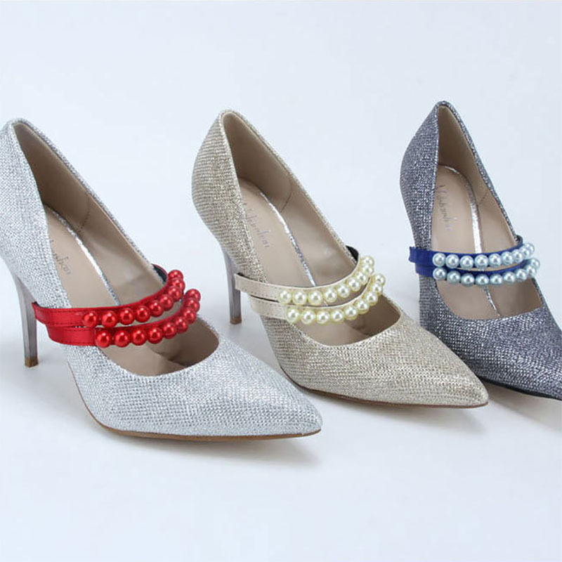 Imitation Pearl Heels Band Shoe Accessory Decoration Elastic Straps For Women 1 Pair Shoelace Free Shipping