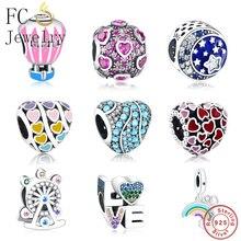 2019 Winner Wholesale Fit Original Pandora Charms Bracelets Authentic 925 Silver LOVE Rainbow Heart Charm Clip Bead DIY Jewelry
