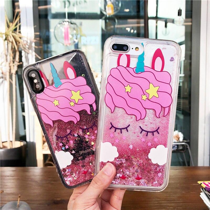 Galleria fotografica Cute Pink Unicorn Pattern Liquid Quicksand Soft TPU Back Cover Phone Case For iPhone 6 6S 7 8 Plus X 6Plus 6SPlus 7Plus Funda