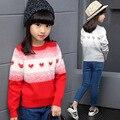 Novo 2016 Frete Grátis Outono/primavera Wear Patchwork Camisola Meninas Cardigan Meninas Roupas Crianças Inverno Quente Bonito Outerwear