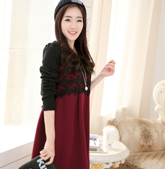 Fashion Lace Color Block Autumn Maternity Dresses with Side Ties Elegant Winter Clothes for Pregnant Women Pregnancy Clothing