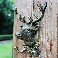 Animal Deer Stags Head Hook Wall Hanger Rack Holder Cast Iron Organizer Wall Mounted Bronze Rustic Home Decor Garden Outdoor