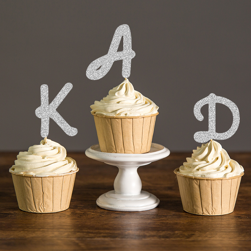 gold  black  silver glitter initial letter party picks custom monogram baby shower cupcake toppers