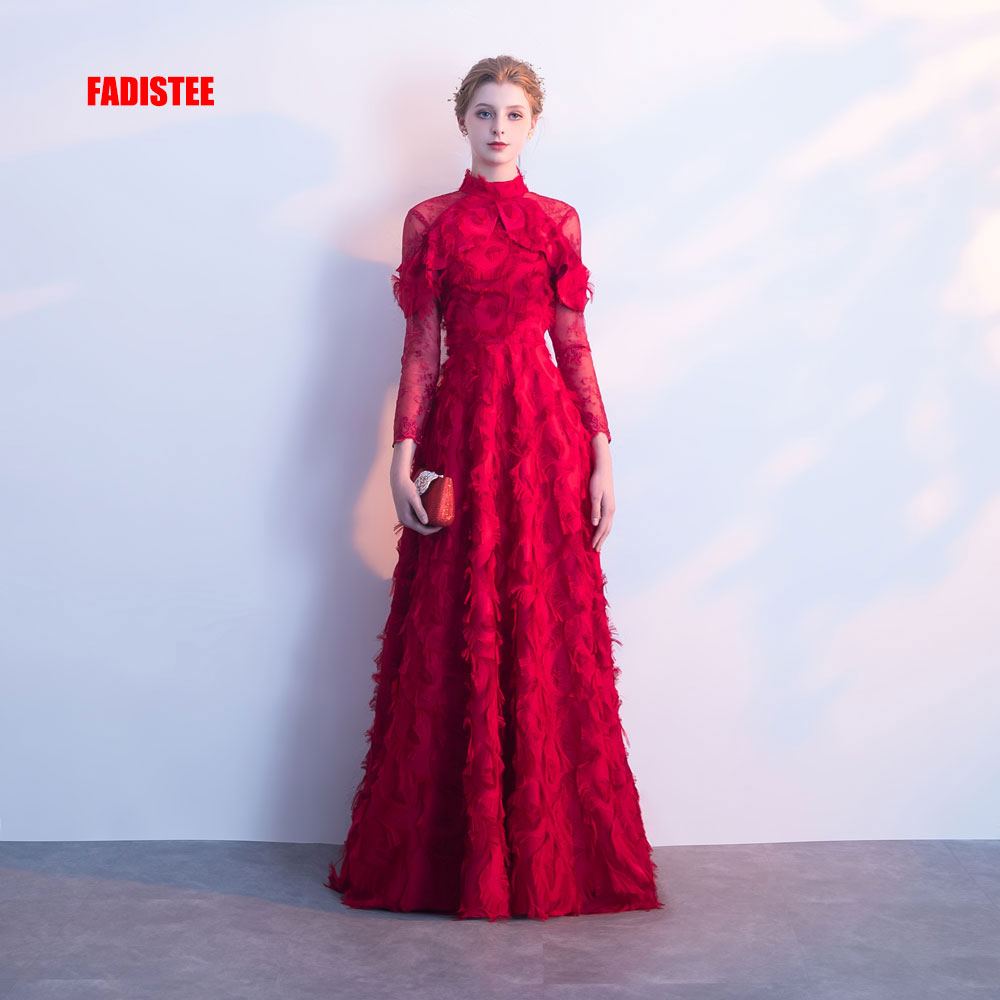 FADISTEE New arrival party evening dresses Vestido de Festa prom Robe De Soiree Burgundy long sleeves lace Muslim high-neck