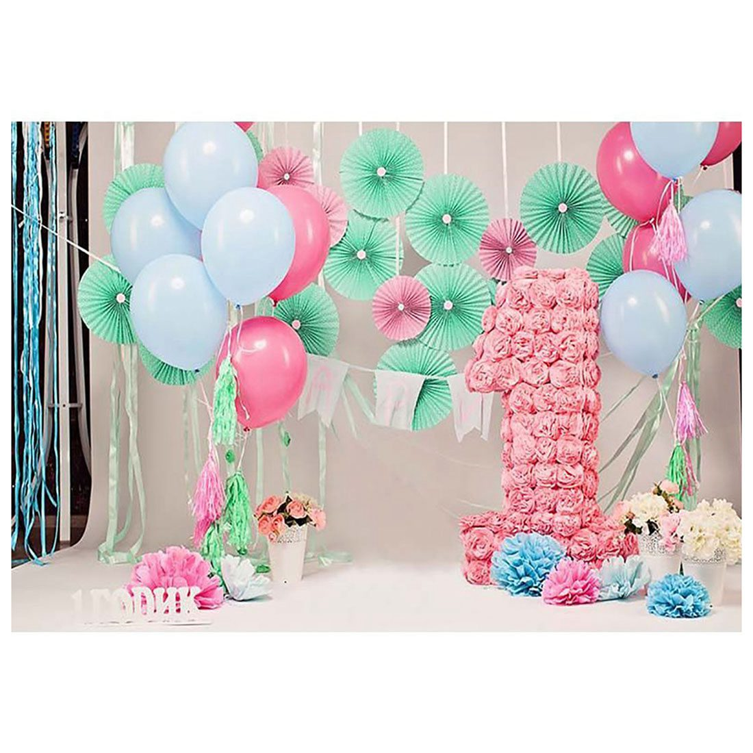 7*5ft Photography Backdrops Party Pink Balloons Florals Girls 1st birthday banner photo studio booth background photocall