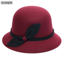 SILOQIN Fashion Elegant Ladys Fedoras Hats 2019 New Style Noble Womens Retro Warm Hat Bow Decoration Female Trend Brands Cap