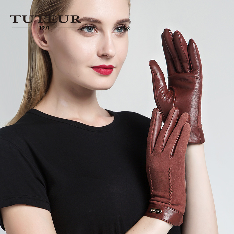 Bonne qualité en peau de Mouton Gants de Femmes D'hiver Plus Le Velours Chaud De Mode En Cuir Véritable Daim gants pour écran tactile Femelle 3356