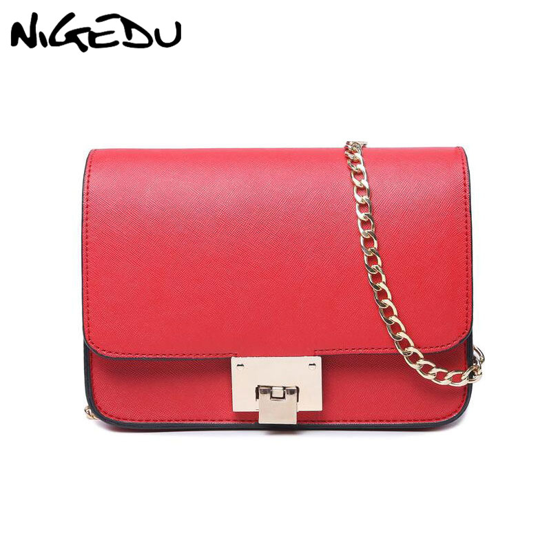 NIGEDU Fashion Small Chain Flap Bags Female Messenger Bag High Quality Pu Leather Women Shoulder Bag Famous Brand Purse Handbags