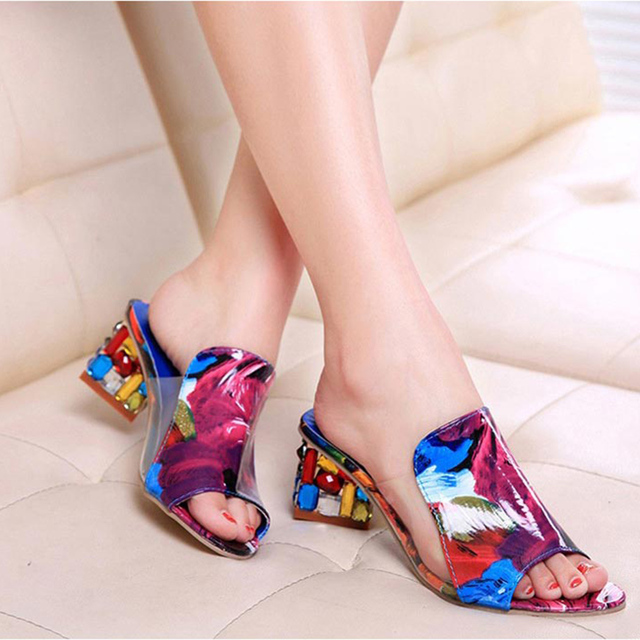Rhinestone Low Heel Peep Toe Sandals