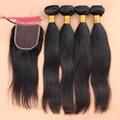 DHL Free Shipping Brazilian Virgin Hair With Closure Hair  Bundles 7A Brazilian Straight Virgin Hair 5 Bundles With Closure