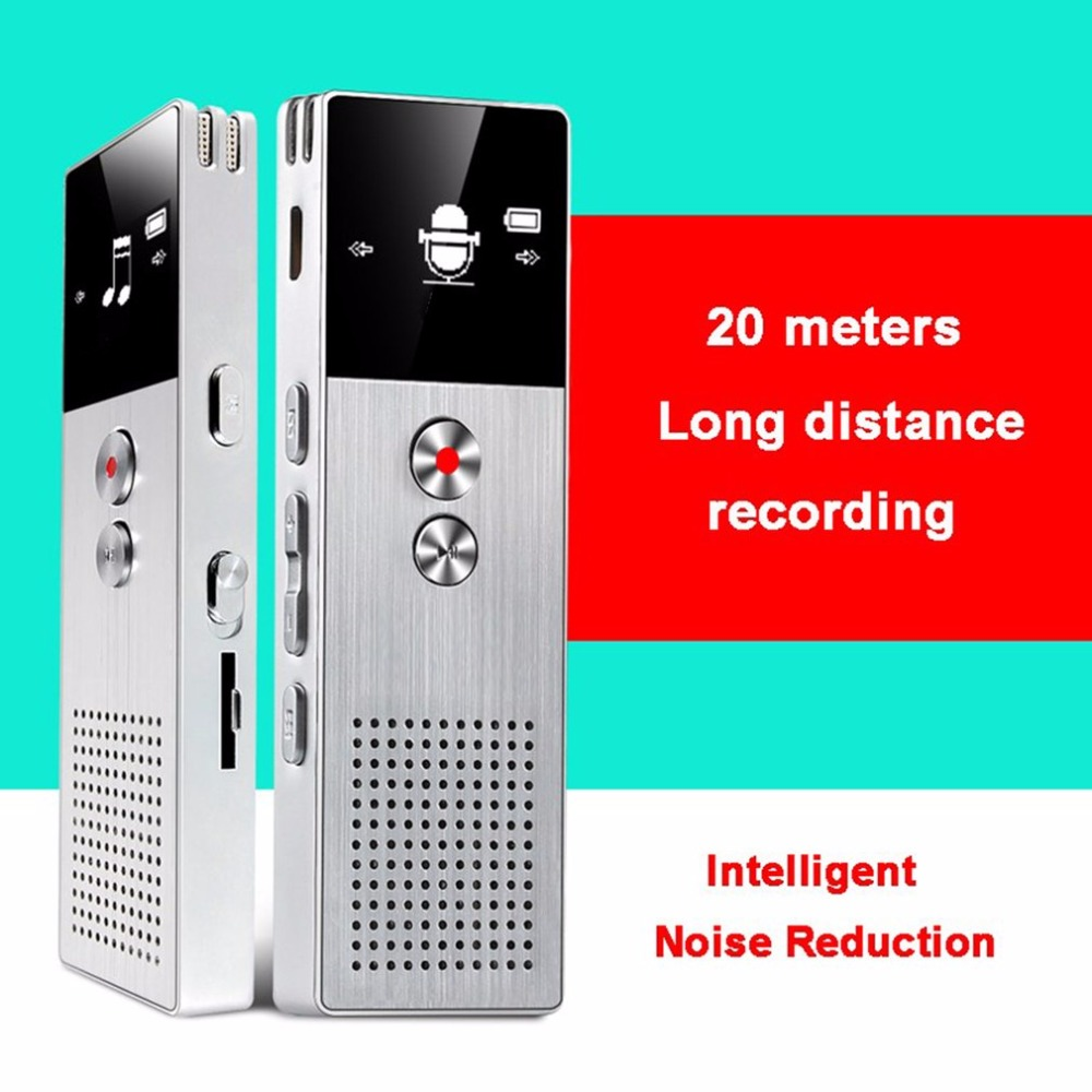 LESHP Mini Audio Recorder HD Dual Microphone Recording Digital Voice Recorder Telephone Recording MP3 Player Support 32G TF Card