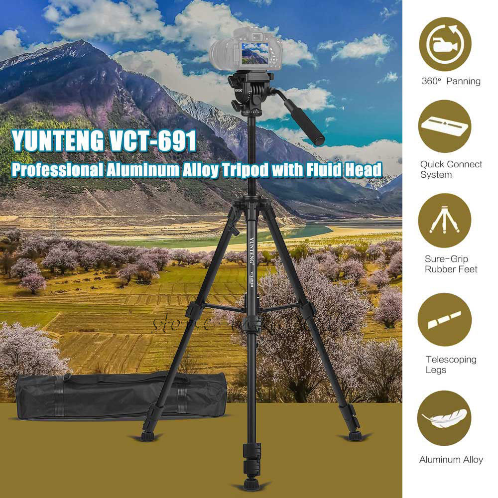 59.8 Inches Video Tripod Fluid Head For Canon For Nikon For Sony Camera DSLR Camcorder jieyang jy0509a aluminum alloy hydraulic video tripod with 65mm bowl tripod head birding tripod for canon nikon sony cameras