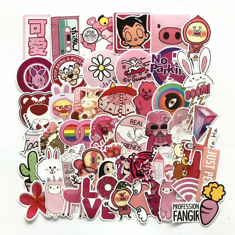 Td zw 50 pçs rosa menina bonito dos desenhos animados adesivos para skate portátil bagagem geladeira telefone estilo adesivo