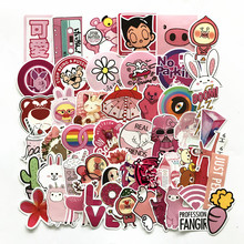 Td zw 50 pcs 핑크 소녀 귀여운 만화 스티커 스케이트 보드 노트북 수하물 냉장고 전화 스타일링 스티커
