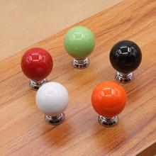 27mm full colour ceramic ball furniture knob red orange black white green porcelain drawer cabinet small knob pull silver handle