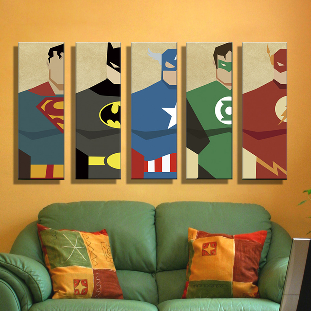 5 panels print painting canvas super hero superman batman Interiors by design canvas art