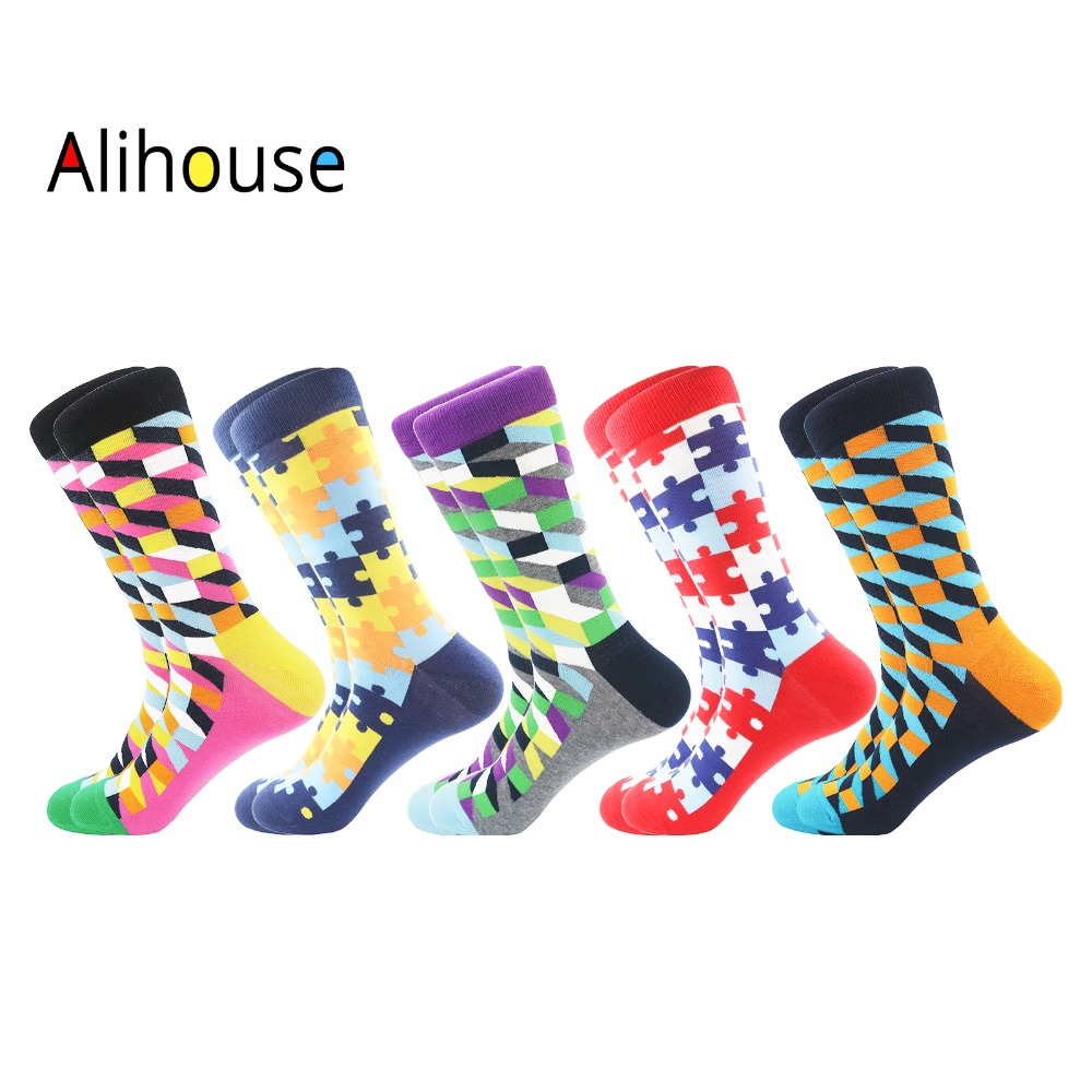 Hot Hot Hot Funny Argyle Happy   Socks   Men Causal Crew Cotton Winter Warm   Socks   5Pairs/Lot Colourful Geometric Printed   Socks   Men